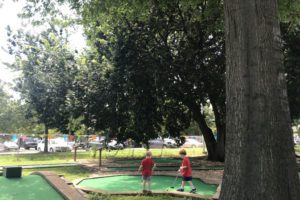 Children enjoy the 18-hole mini-golf course at East Potomac Park.