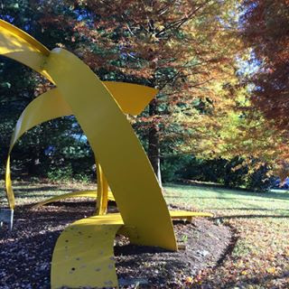 Surrounded by the changing leaves on a crisp fall day, this bright yellow modern sculpture blends seamlessly into its outdoor surroundings at Strathmore.
