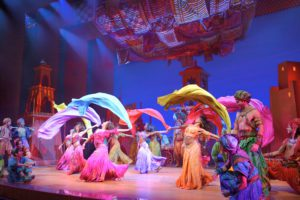 Disney Theatrical Productions under the direction of Thomas Schumacher presents Aladdin, the new musical, music by Alan Menken, lyrrics by Howard Ashman and Tim Rice, book and additional lyrics by Chad Beguelin at the Ed Mirvish Theatre in Toronto, Canada, starring: Adam Jacobs (Aladdin), James Monroe Iglehart (Genie), Courtney Reed (Jasmine), Brian Gonzales (Babkak), Brandon O'Neill (Kassim), Jonathan Schwartz (Omar), Clifton Davis (Sultan), Don Darryl Rivera (Iago), Merwin Foard (standby Jafar/Sultan), Michael James Scott (standby Genie/Babkak) and Jonathan Freeman (Jafar) directed and choreographed by Casey Nicholaw