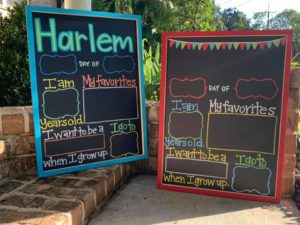 Hand painted reusable custom chalkboards for back to school pictures