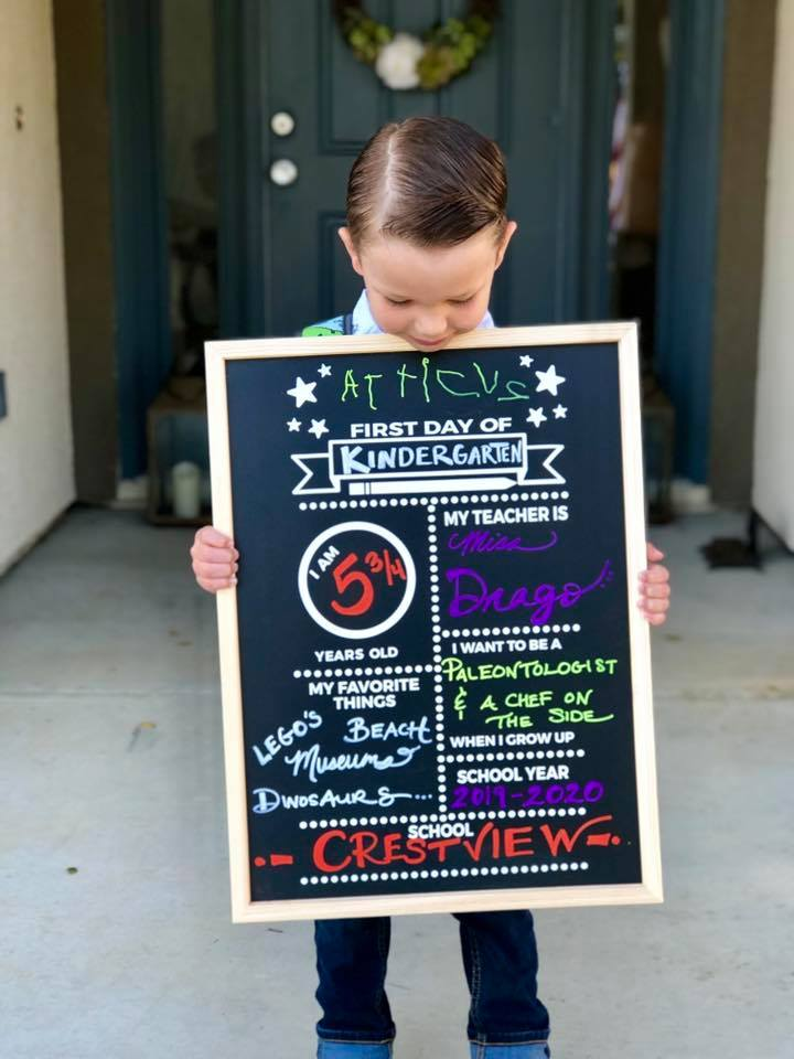 back to school pictures with reusable chalkboard sign
