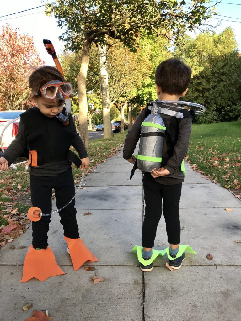 The kids created their own costumes with duct tape and felt