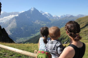 Jennifer and kids in the most beautiful place (IMHO) in the world, Jungfrau Region of Switzerland