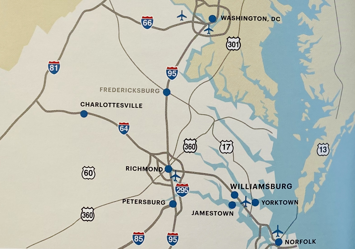 A map from The Guide to Colonial Williamsburg shows the proximity between Washington DC and Williamsburg, VA.