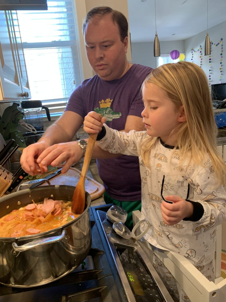 Kid makes jambalaya to celebrate Mardi Gras