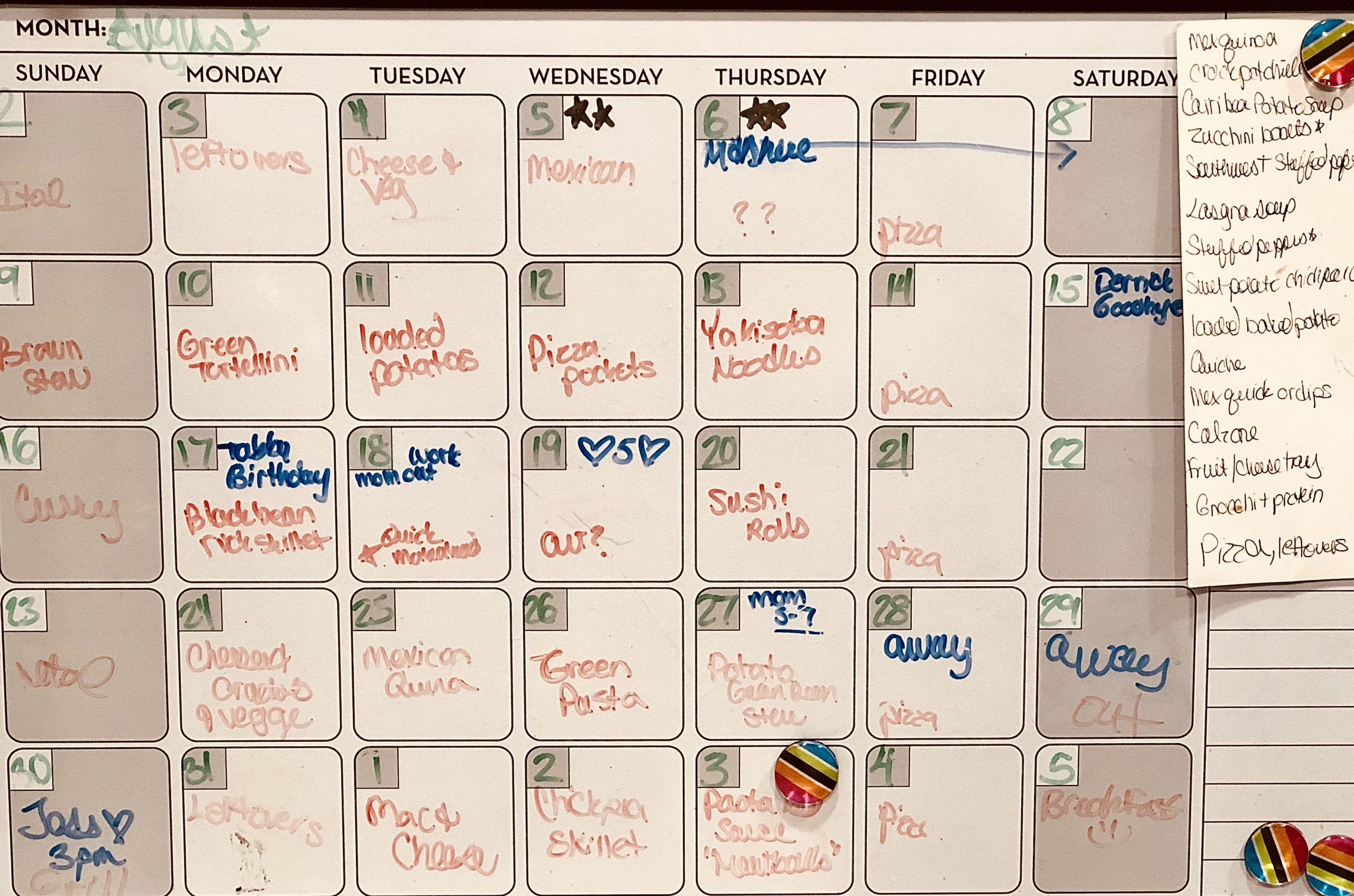 monthly meal plan schedule