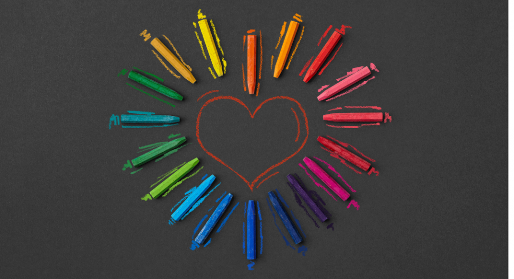 rainbow heart made out of crayons