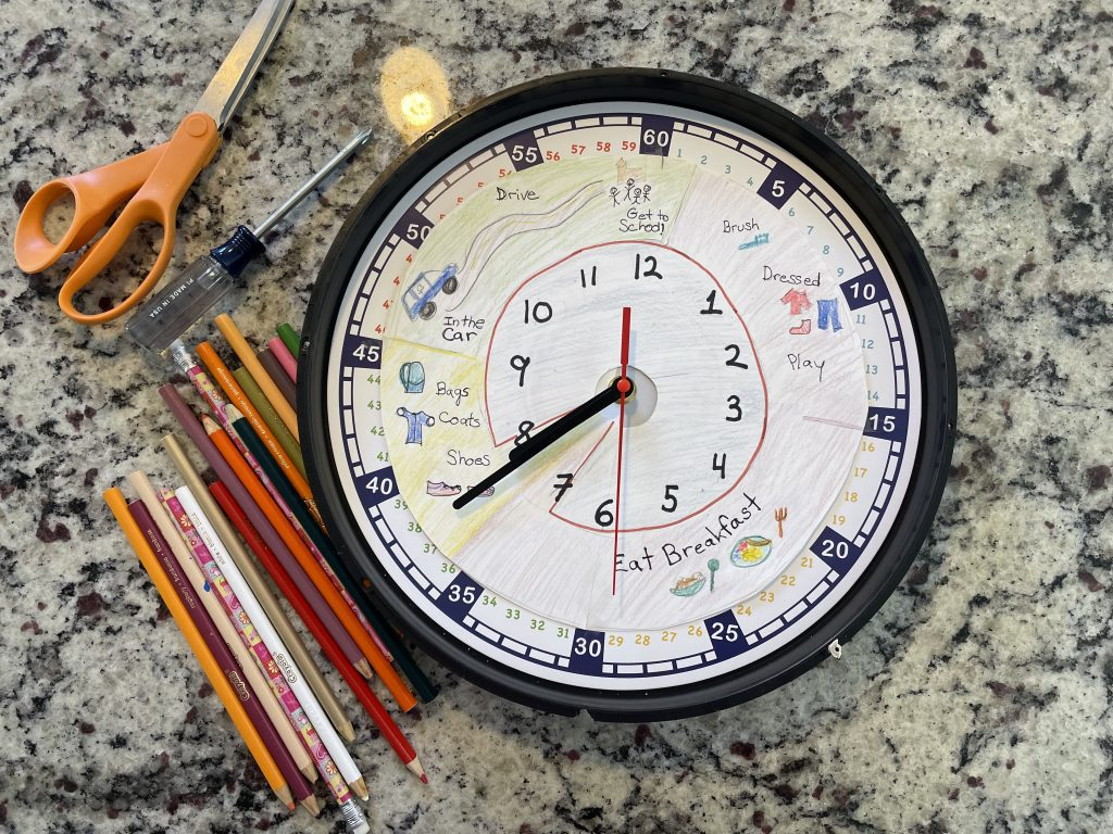 Make your morning routine visible for kids with a home made clock